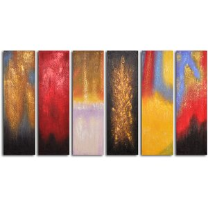 'Shades of Fire' 6 Piece Painting Set on Wrapped Canvas Set by Willa Arlo Interiors