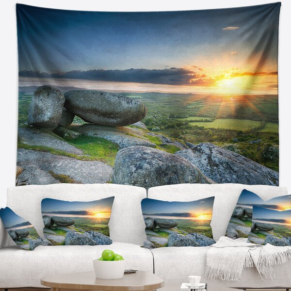 Sunset at Helman Tor in Cornwall Tapestry and Wall Hanging by East Urban Home