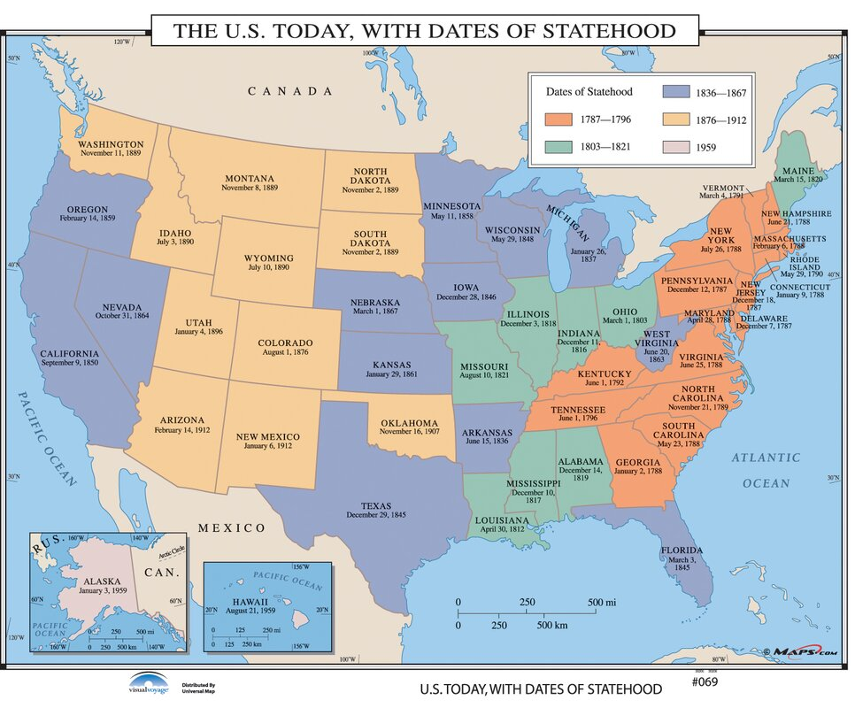 Universal Map US History Wall Maps US Today With Dates Of - Map of us in 1821