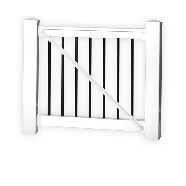 3.5 ft. H x 5 ft. W Beaumont Railing Gate by Vinyl Fence Wholesaler