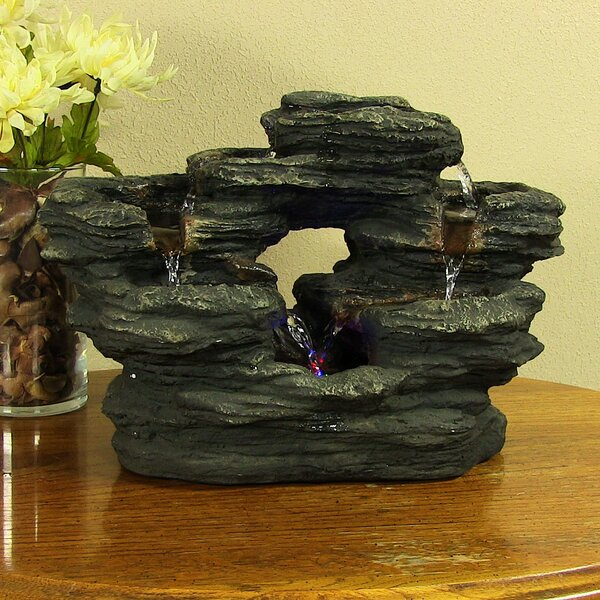 Resin 2 Stream Rock Tabletop Fountain with Light by Wildon Home ®