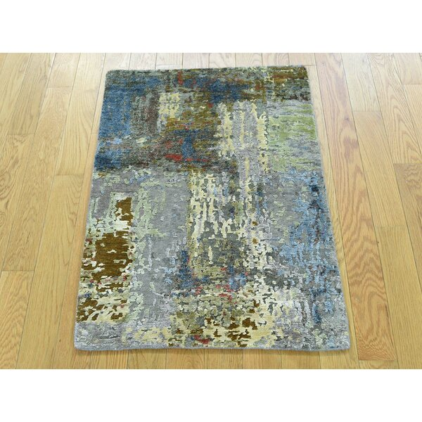 One-of-a-Kind Bowerton Abstract Design Handwoven Wool/Silk Area Rug by Isabelline