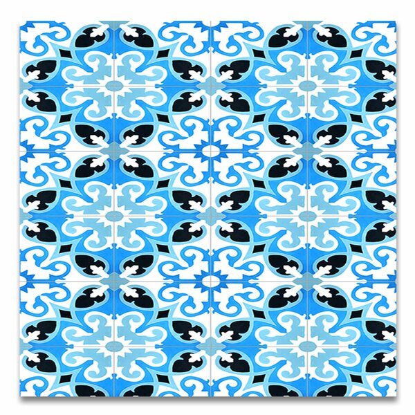Agadir 8 X 8 Handmade Cement Tile in Blue/White by Moroccan Mosaic