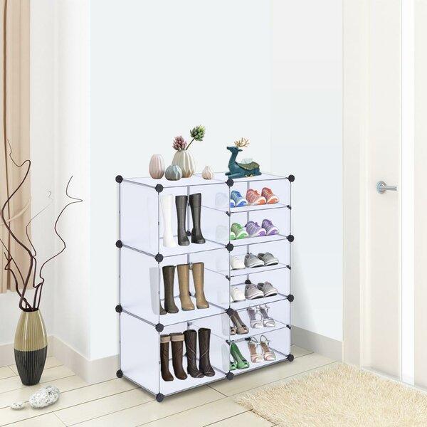 Plastic Cubes 18 Pair Shoe Storage Cabinet
