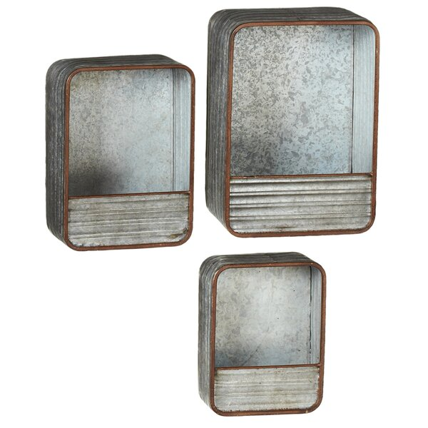Outdoor Living Galvanized Rectangle 3 Piece Wall Planter Set by CBK