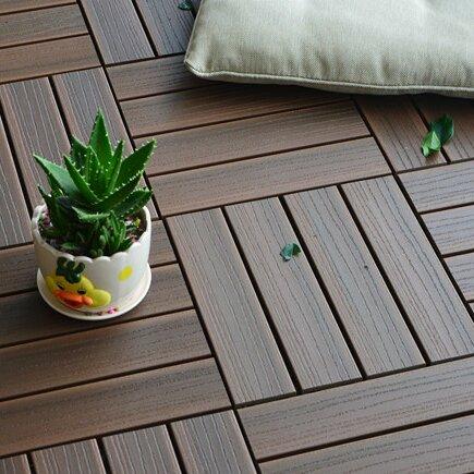 Composite Walnut 12 X Interlocking Deck Tiles