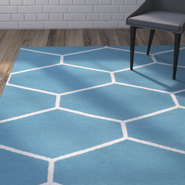 Smyth Hand-Woven Blue Area Rug by Mercury Row