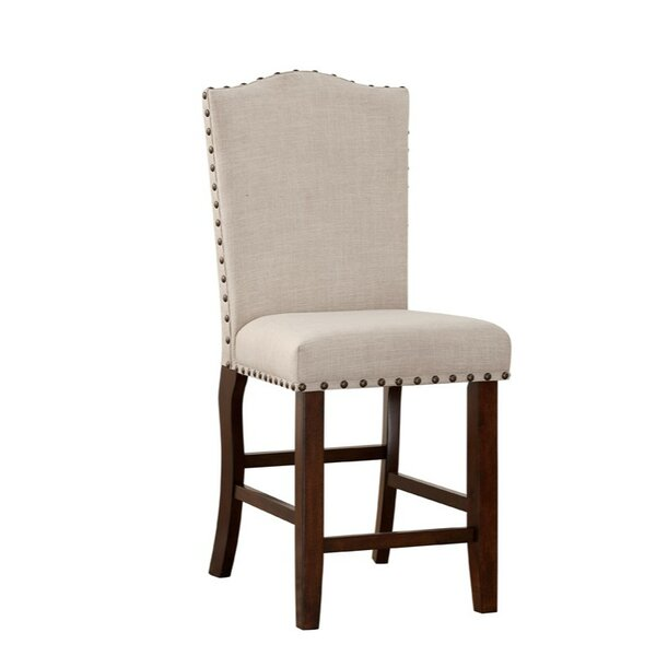 Shepley Studded Trim Rubber Wood 24 Bar Stool (Set of 2) by Alcott Hill