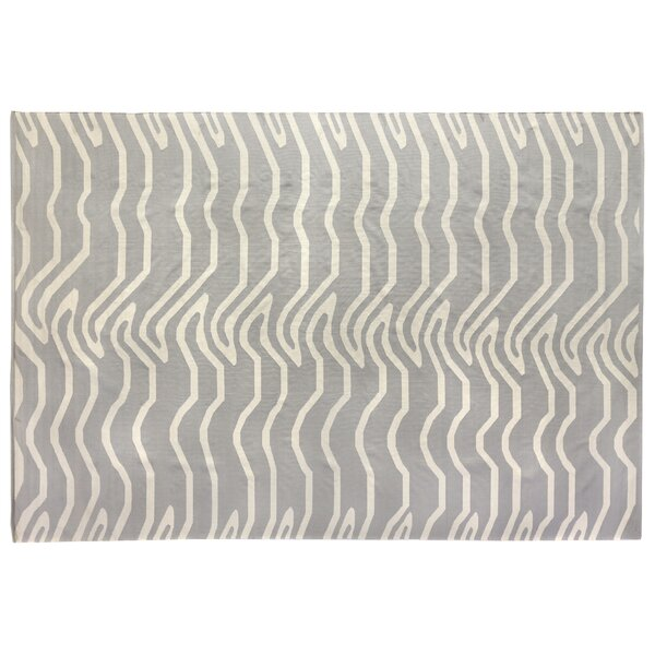 Hand-Woven Wool Gray/Ivory Area Rug by Exquisite Rugs