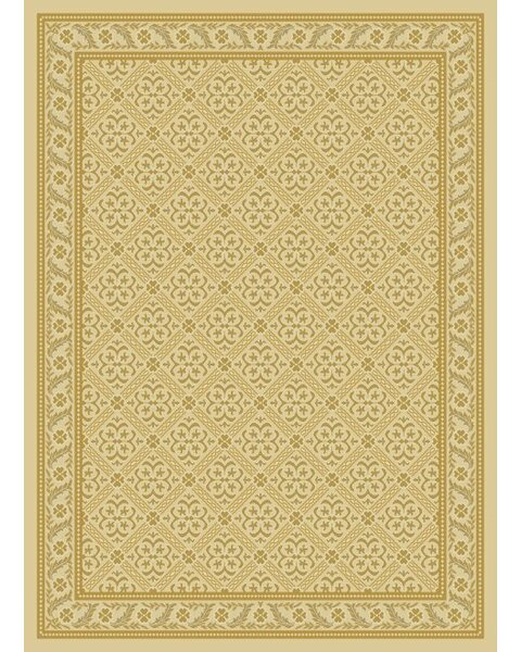 Edenbridge Damask Ivory Contemporary Rug by World Menagerie