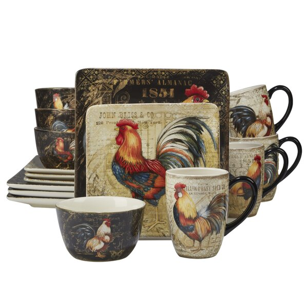 Friar Gilded Rooster 16 Piece Dinnerware Set, Service for 4 by August Grove