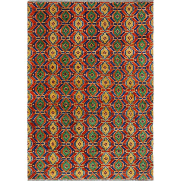 One-of-a-Kind Millender Bomani Hand-Knotted Wool Red/Green Area Rug by Bloomsbury Market