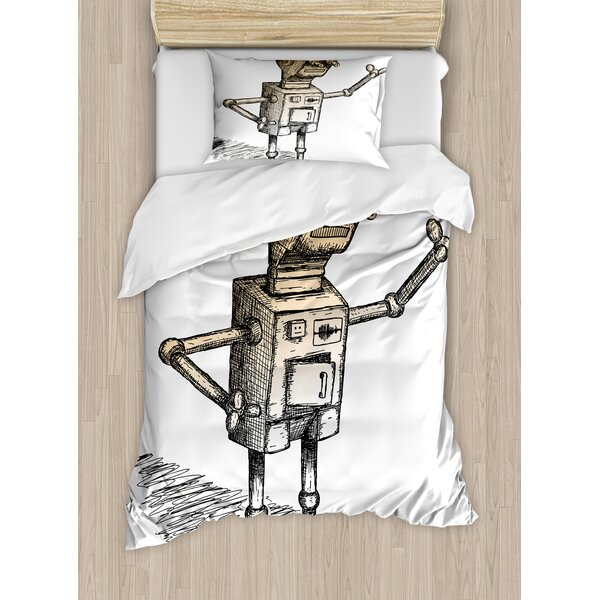 Fantasy Hand Drawn Theme of Robot Sketch Humor Character Artsy Illustration Duvet Set by East Urban Home