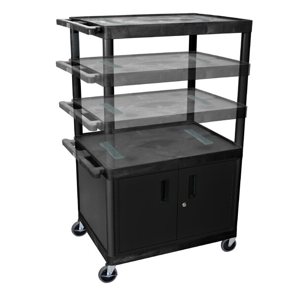 Open Shelf AV Cart with Locking Cabinet by Luxor
