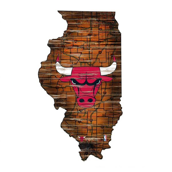NBA Bulls Distressed State Wall Décor by Fan Creations