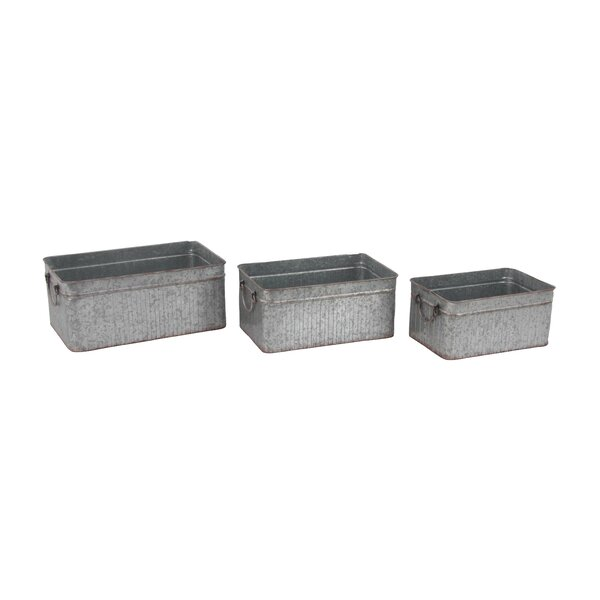 Farmhouse Rectangular 3-Piece Planter Box Set with Handle by Cole & Grey