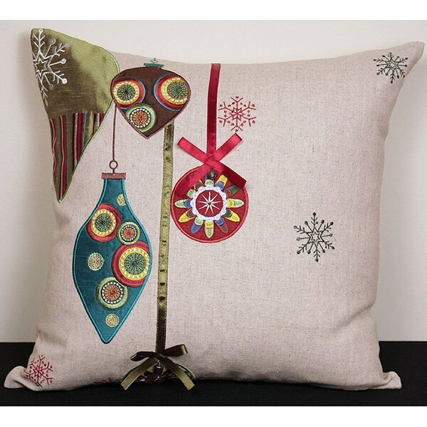 Ornaments Embroidered Holiday Linen Throw Pillow by The Holiday Aisle