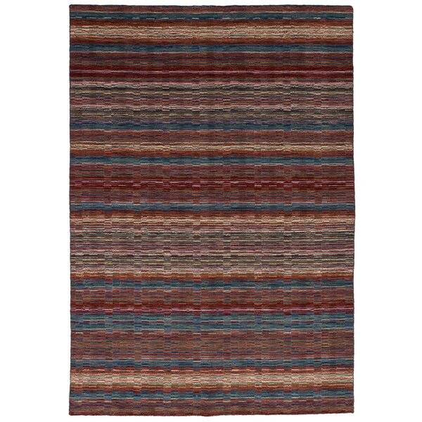 Marple Hand-Knotted Wool Olive/Red Area Rug by Bloomsbury Market