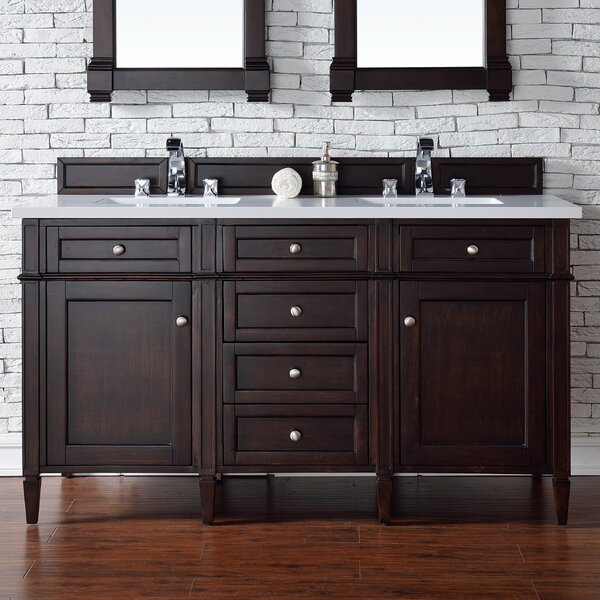 Deleon 60 Double Burnished Mahogany Quartz Top Bathroom Vanity Set by Darby Home Co