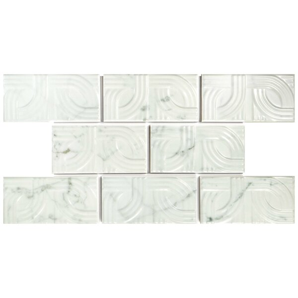 Karra Carrara 3 x 6 Ceramic Subway Tile in Glossy Metropolis White/Gray by EliteTile