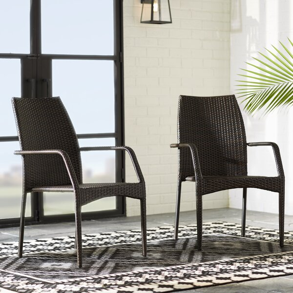 Herod Stacking Patio Dining Chair (Set Of 2) By Mercury Row