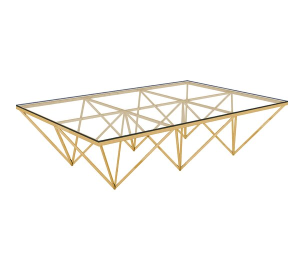 Bertram Modern Polished Metal/Glass Coffee Table by Everly Quinn
