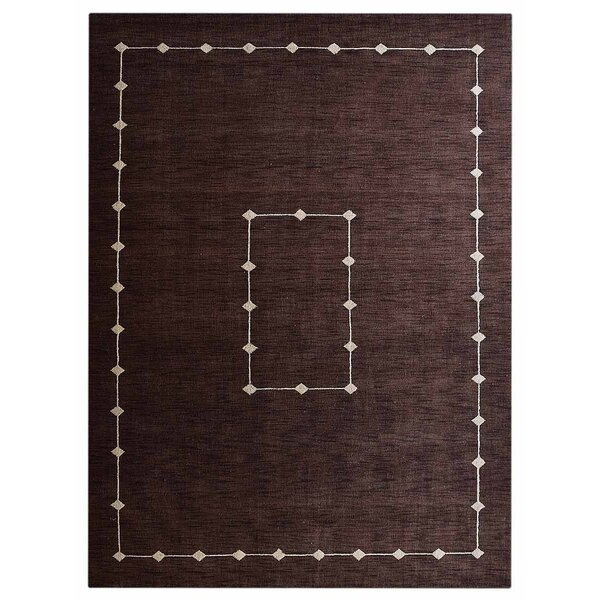 Irvin Loom Hand Knotted Wool Brown Area Rug by Red Barrel Studio