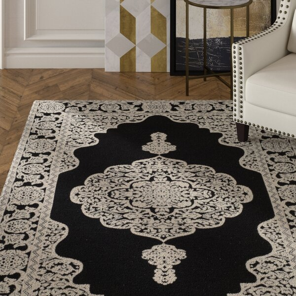 Jamison Hand-Woven Black/Ivory Area Rug by House of Hampton