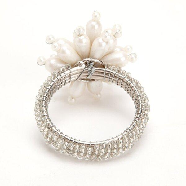 Floral Pearl Napkin Rings (Set of 4) by Debage Inc.