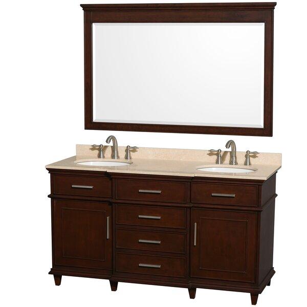 Berkeley 60 Double Dark Chestnut Bathroom Vanity Set with Mirror by Wyndham Collection