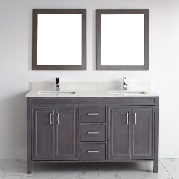 Coraline 60 Double Bathroom Vanity Set with Mirror by Bauhaus Bath