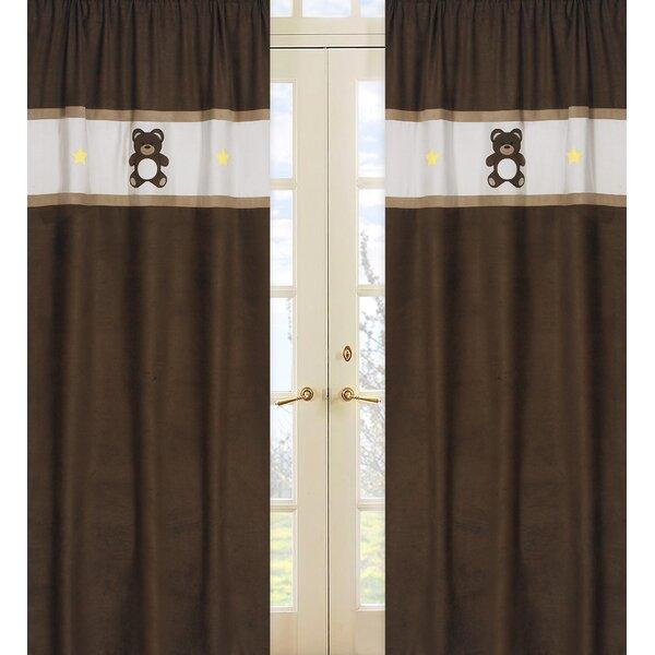 Teddy Bear Graphic Print & Text Semi-Sheer Rod pocket Curtain Panels (Set of 2) by Sweet Jojo Designs