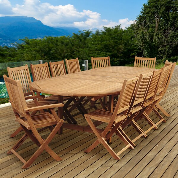Tregre International Home Outdoor 13 Piece Teak Dining Set by Highland Dunes