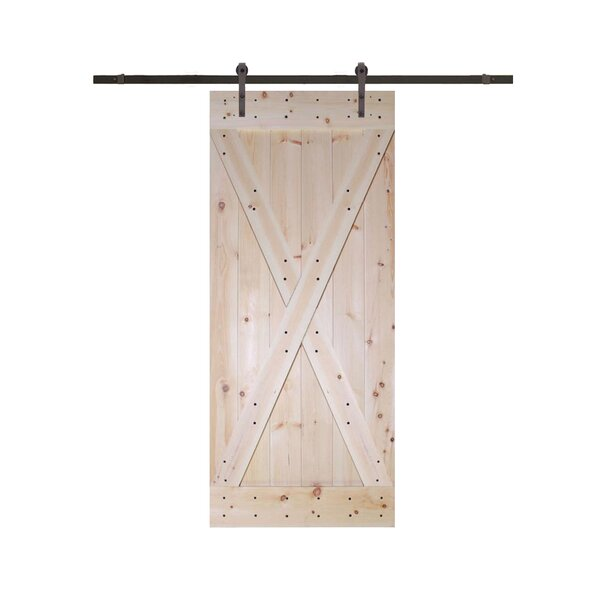 Solid Wood Paneled Pine Slab Interior Barn Door by TMS