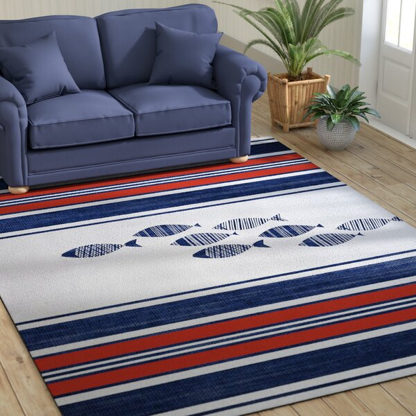 Concord Blue/Red Indoor/Outdoor Area Rug by Beachcrest Home