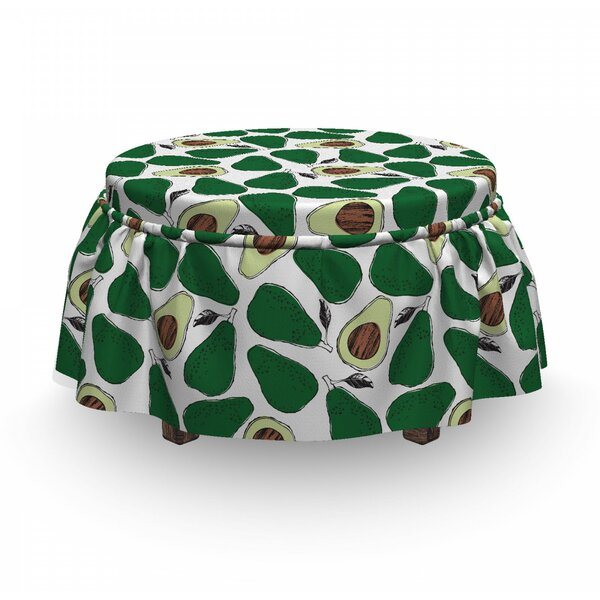 Doodle Avocado Slices Ottoman Slipcover (Set Of 2) By East Urban Home
