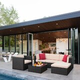 Avoca 6 Piece Rattan Sectional Seating Group with Cushions by Bayou Breeze