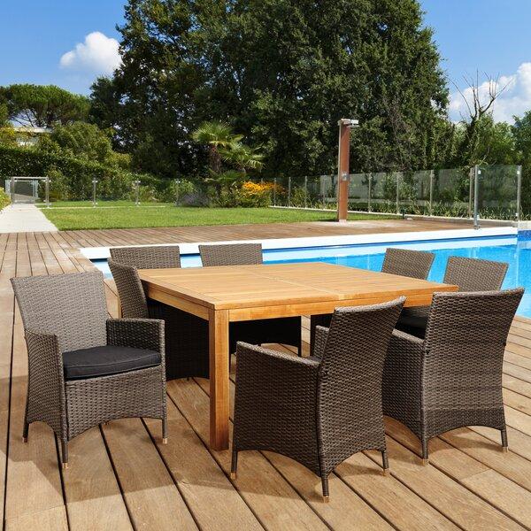 Euclid International Home Outdoor 9 Piece Teak Dining Set with Cushions Bayou Breeze W002482637