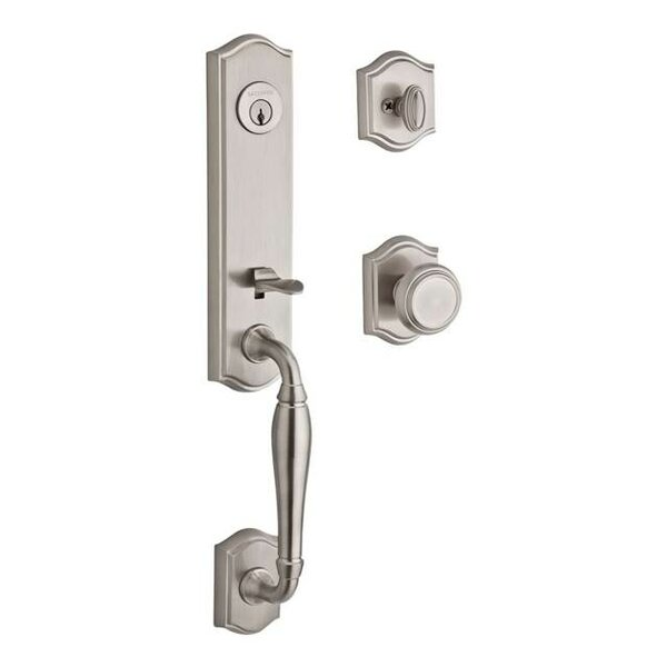 New Hampshire Single Cylinder Handleset with Traditional Door Knob and Traditional Arch Rose by Baldwin