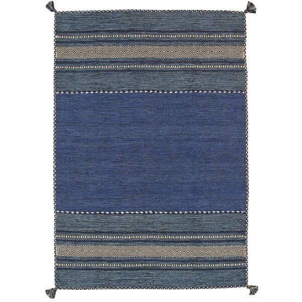 Kilim Hand-Woven Blue Area Rug by Pasargad