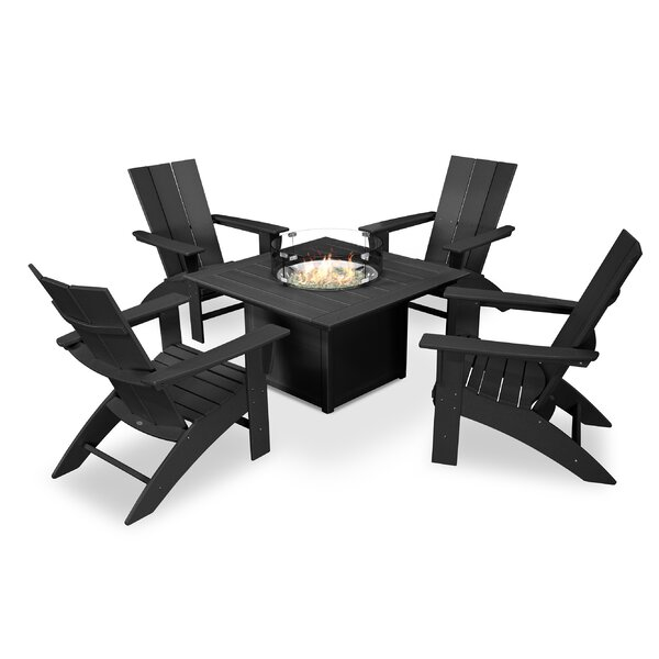 Modern Adirondack Curveback 5 Piece Multiple Chairs Seating Group by POLYWOOD®