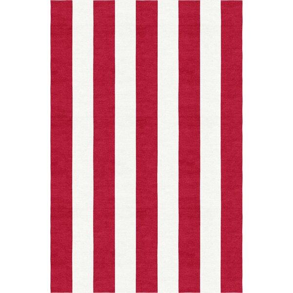 Watanabe Stripe Hand-Woven Wool Red/White Area Rug by Breakwater Bay