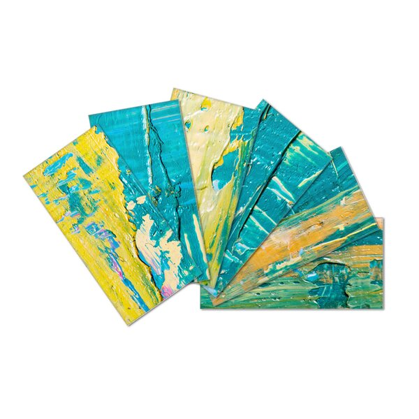 Crystal Skin 3 x 6 Glass Subway Tile in Yellow/Blue by SkinnyTile