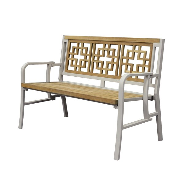 California Teak/Iron Metal Garden Bench by Asta Furniture, Inc.