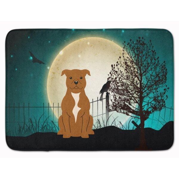 Eila Scary Bull Terrier Rectangle Microfiber Non-Slip Bath Rug