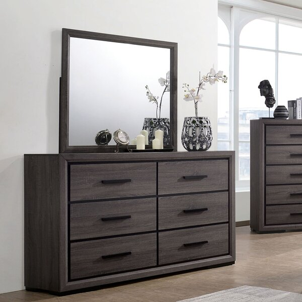 Beaudry 6 Drawer Double Dresser with Mirror by Ivy Bronx