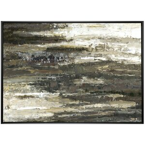 'Abstract Layer' Framed Painting on Wrapped Canvas by Red Barrel Studio