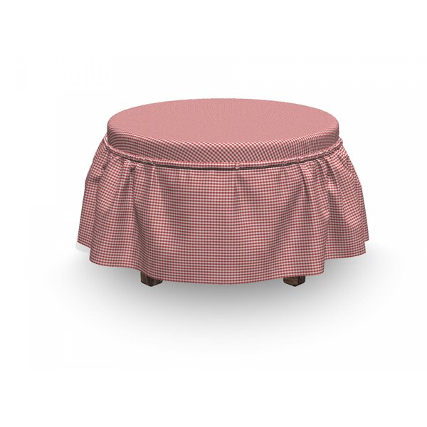 Checkered Traditional Gingham 2 Piece Box Cushion Ottoman Slipcover Set By East Urban Home