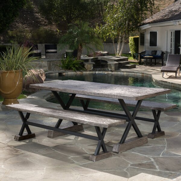 Gilberto Outdoor Magnesium Oxide Picnic Bench (Set of 2) by Foundry Select