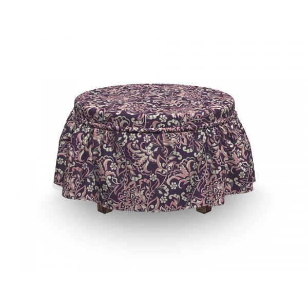 On Sale Vintage Floral 2 Piece Box Cushion Ottoman Slipcover Set